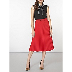 Dorothy Perkins - Red satin pleated skirt