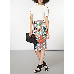 Dorothy Perkins - Green and orange floral scuba pencil skirt