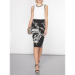 Dorothy Perkins - Black and white floral scuba pencil skirt