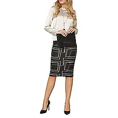 Dorothy Perkins - Black cut about print pencil skirt