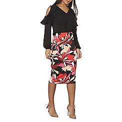 Dorothy Perkins - Pink floral scuba pencil skirt