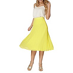 Dorothy Perkins - Yellow pleated chiffon midi skirt