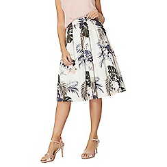 Dorothy Perkins - Ivory palm print midi skirt