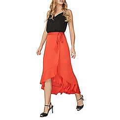 Dorothy Perkins - Red wrap ruffle maxi skirt