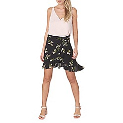 Dorothy Perkins - Black ditsy ruffle mini skirt