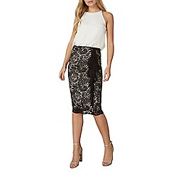 Dorothy Perkins - Black and nude lace skirt