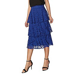 Dorothy Perkins - Cobalt tiered lace skirt