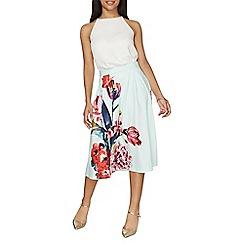 Dorothy Perkins - Mint floral midi skirt