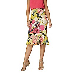 Dorothy Perkins - Lime floral peplum pencil skirt