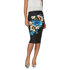 Dorothy Perkins - Black digital floral print pencil skirt