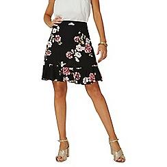 Dorothy Perkins - Black floral print pephem mini skirt