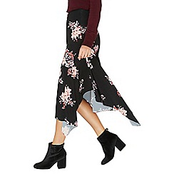 Dorothy Perkins - Black floral print midi skirt