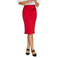 Dorothy Perkins - Red bow scuba pencil skirt