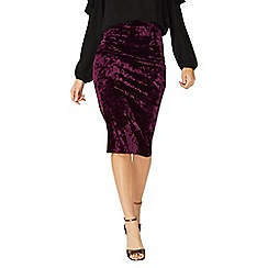 Dorothy Perkins - Burgundy crushed velvet pencil skirt