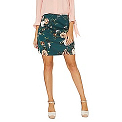 Dorothy Perkins - Green floral print scuba mini skirt