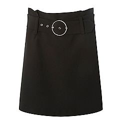 Dorothy Perkins - Black belted mini a-line skirt