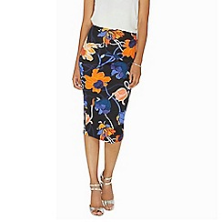 Dorothy Perkins - Black and cobalt abstract print pencil skirt