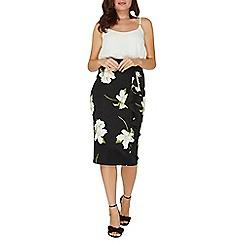 Dorothy Perkins - Black lily print pencil skirt