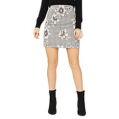 Dorothy Perkins - Grey floral checked mini skirt