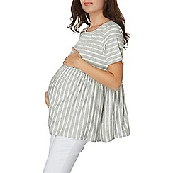 Dorothy Perkins - **Maternity grey stripe gather hem top