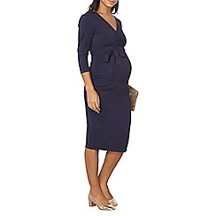 Dorothy Perkins - Maternity navy self-tie ruched dress