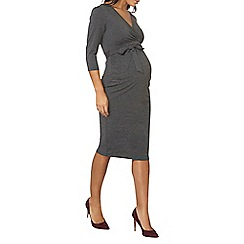 Dorothy Perkins - Maternity grey self-tie ruched dress