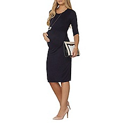 Dorothy Perkins - Maternity navy ruched side bodycon dress