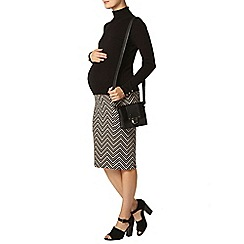 Dorothy Perkins - Maternity camel and black chevron pencil skirt