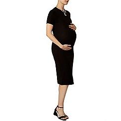 Dorothy Perkins - Maternity black high neck ribbed bodycon dress