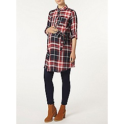 Dorothy Perkins - Maternity red and navy check rollsleeve tunic