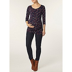 Dorothy Perkins - Maternity navy heart print ruched side t-shirt
