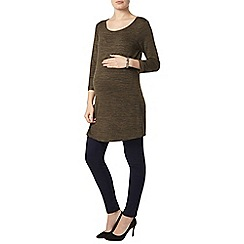 Dorothy Perkins - Maternity khaki space dye split side longline t-shirt