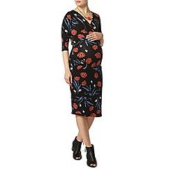 Dorothy Perkins - Maternity black botanical floral jersey dress