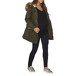 Dorothy Perkins - Maternity khaki fur hooded parka