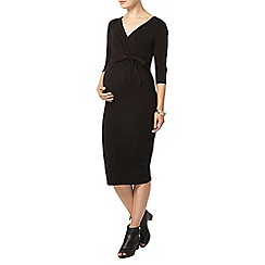 Dorothy Perkins - Maternity black self-tie ruched jersey dress