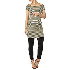 Dorothy Perkins - Maternity khaki and white stripe ribbed bardot tunic