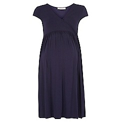 Dorothy Perkins - Maternity navy wrap fit and flare dress