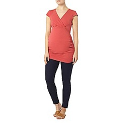 Dorothy Perkins - Maternity coral cap sleeve ruched wrap top