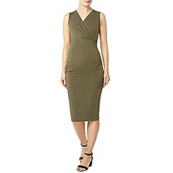 Dorothy Perkins - Maternity khaki sleeveless ruched dress