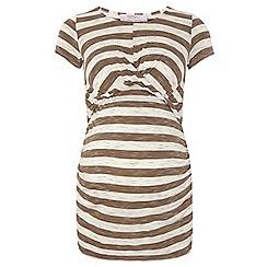 Dorothy Perkins - Maternity khaki and white twist front t-shirt