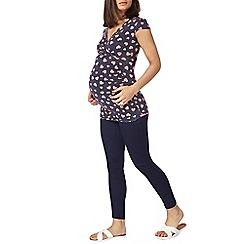 Dorothy Perkins - Maternity navy polka heart cap sleeve wrap top