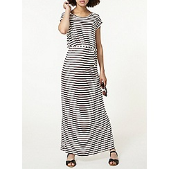 Dorothy Perkins - Maternity chocolate and ivory stripe maxi dress