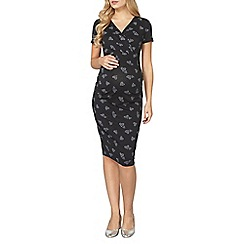 Dorothy Perkins - Maternity black heart ruched wrap midi dress
