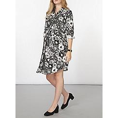 Dorothy Perkins - Maternity black floral shirt dress