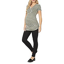 Dorothy Perkins - Maternity olive stripe ruched top