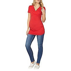 Dorothy Perkins - Maternity red ruched wrap top