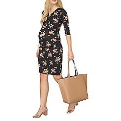 Dorothy Perkins - Maternity black floral ruched dress