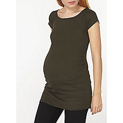 Dorothy Perkins - Maternity khaki ruched side bardot tunic