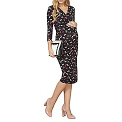Dorothy Perkins - Black maternity pansy floral wrap dress