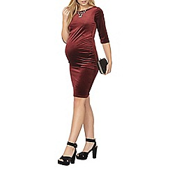 Dorothy Perkins - Maternity wine velvet bodycon dress